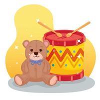 kids toys, drum with teddy bear vector
