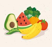 healthy food, fresh vegetables and fruits vector