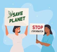 mujeres de personas que protestan, activistas por el concepto de derechos humanos vector