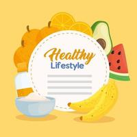 Healthy lifestyle banner with vegetables, fruits and food vector