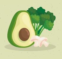 fresh vegetables, avocado with mushroom and broccoli vector
