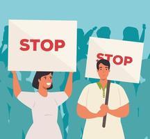 grupo de personas que protestaban, activistas por el concepto de derechos humanos vector