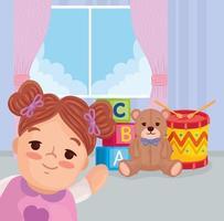 juguetes para niños, linda muñeca con juguetes en un dormitorio vector