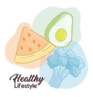 Healthy lifestyle banner with vegetables and fruit vector