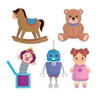 set of cute kids toys vector