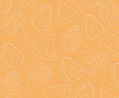 Vegetables and fruits pattern background vector