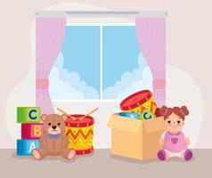 cute kids toys in the bedroom vector