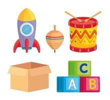 conjunto de lindos juguetes para niños vector
