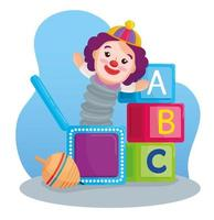 kids toys, alphabet cubes with clown in a box and spinning toy vector
