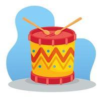 drum with sticks, musical instrument toy for children vector