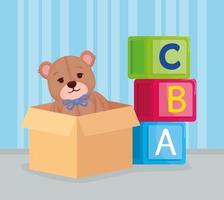 kids toys, alphabet cubes with teddy bear in a box vector