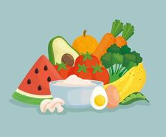 Healthy food banner with fresh vegetables and fruits vector