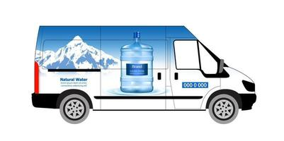 Water delivery service vector illustration. Delivery panelvan. Drinking water delivery service. Plastic bottle, blue container. Supply, shipping. Business service.