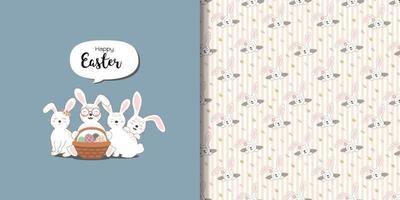 Cute rabbits greeting card and print seamless pattern vector