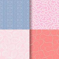 4 hand drawn seamless pattern set