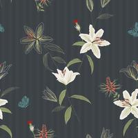 Beautiful hand drawn lily flowers seamless pattern on dark background,for decorative,fabric,textile,print or wallpaper vector
