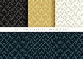 conjunto de patrón de chevron sin fisuras onda abstracta fondo raya oro lujo color y línea. Línea geométrica diseño de patrón de oro rosa negro y azul oscuro. ilustración vectorial vector