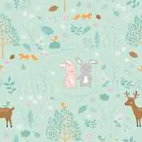 Forest in springtime with cute animals seamless pattern vector