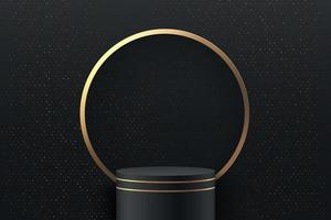 Abstract round stage for awards in modern. Luxury background vector rendering with black gold podium and golden ring, glitter texture wall scene, 3d rendering geometric shape black color. Vector EPS10