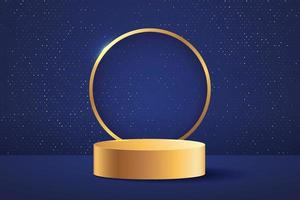 Abstract stage for awards in modern. Background vector rendering with gold podium and dark blue with golden ring and glitter wall scene,  3d rendering geometric shape blue color. Vector EPS10