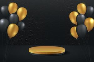 Luxury gold and black balloon background vector 3d rendering with cylynder podium. Black friday minimal rendered scene 3d with golden podium platform. stand to show product. Stage showcase background.