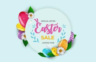 Plantilla de cartel de venta de Pascua con huevos de Pascua realistas en 3D sobre fondo azul. plantilla para publicidad, cartel, folleto, tarjeta de felicitación vector