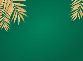 Abstract Realistic Golden Palm Tropical Leaves on Green Background. Vector illustration