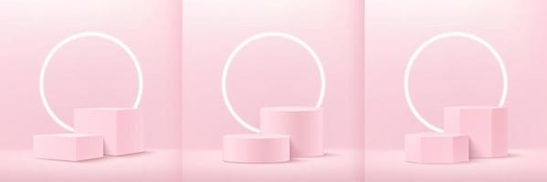 Set of abstract soft pink cube round and hexagon display for product on website in modern. Background rendering with podium and minimal texture wall scene, 3d rendering geometric shape pastel color. vector
