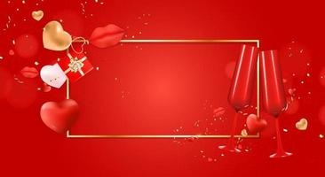 Valentine's Day Holiday Gift Card Background Realistic Design with gold frame vector