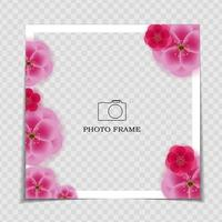 Holiday Background Photo Frame Template With Sakura Flowers vector
