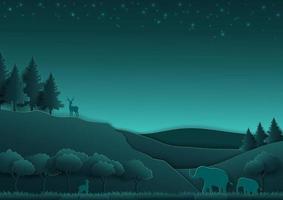 Escena nocturna del bosque con animales y naturaleza en estilo de arte en papel. vector