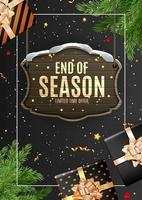 Portrait Winter End of Season Sale Template Design on Black Background vector