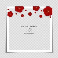 Holiday Background Photo Frame Template with Red Flowers. Sakura, plum flower background for post in Social Network. Vector Illustration.