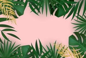 Natural Realistic Green and Gold Tropical Palm Leaves. vector