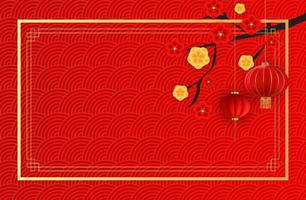 Abstract Chinese Holiday Background with hanging lanterns and plum flowers. Vector Illustration