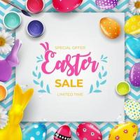 Easter sale poster template with 3d realistic Easter eggs and paint. Template for advertising, poster, flyer, greeting card. Vector Illustration.