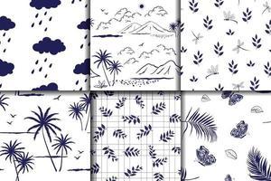 colección de naturaleza dibujada a mano en patrones sin fisuras azules monótonos vector