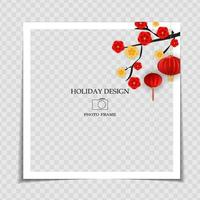 Holiday Background Photo Frame Template with sakura flowers and lanterns. Chinese New Year Concept for post in Social Network. Vector Illustration