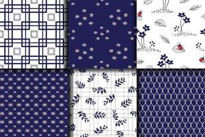 Nature elements in blue seamless patterns