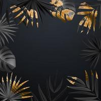 Natural Realistic Black and Gold Tropical Palm Leaves on Black Background. Vector illustration