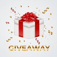 Fondo de caja de regalo de vacaciones de fiesta con lazo y cinta. concepto de sorteo para la red social. ilustración vectorial vector