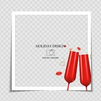 Holiday Background Photo Frame Template With Red Glasses vector