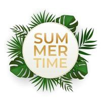Natural Realistic Green Tropical Palm Leaves. Summer Time Concept vector