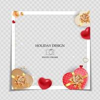Holiday Background Photo Frame Template. Valentine's Day Love Concept for post in Social Network. Vector Illustration.