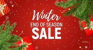 Winter End of Season Sale Template with White Text on Red Background vector