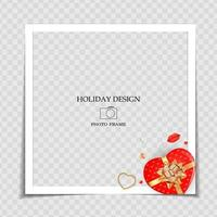 Holiday Background Photo Frame Template with heart gift box. Valentine's Day Love Concept for post in Social Network. Vector Illustration