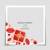 Holiday Background Photo Frame Template with gift box. Valentine's Day Love Concept for post in Social Network. Vector Illustration.