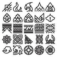 Thai art line pattern set.
