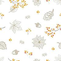Dibujado a mano hojas de otoño de patrones sin fisuras, para decoración, tela, textil, impresión o papel tapiz vector