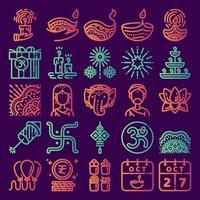 conjunto de iconos de diwali vector